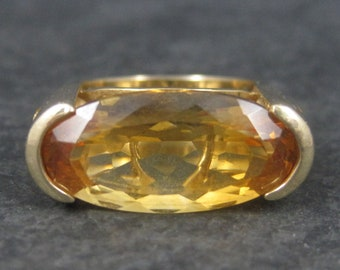 Large 10K Yellow Gold Citrine Ring Size 7