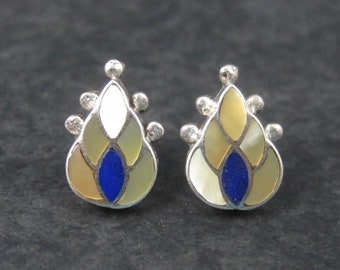 Vintage Zuni Sterling Mother of Pearl Lapis Inlay Flame Earrings Ferdinand Sylvia Hooee