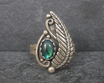 Vintage Southwestern Sterling Paua Shell Feather Ring Size 5.5