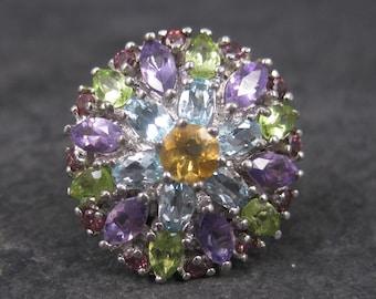 Huge Multi Gemstone Statement Ring Sterling Size 7.5