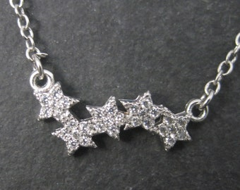 Dainty 90s Vintage Sterling Diamond Star Necklace 18 Inches