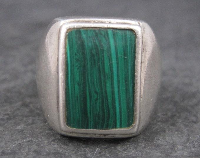 Mens Vintage Sterling Malachite Ring Size 9.5