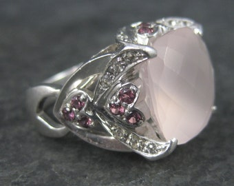 Vintage 90s Sterling Faceted Rose Quartz Ruby Ring Size 7.5