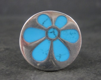 Vintage Sterling Turquoise Flower Ring Size 6.5