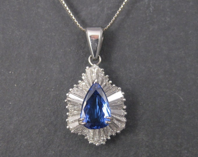 Featured listing image: Exceptional Vintage 14K 5.55 Carat Diamond Tanzanite Pendant