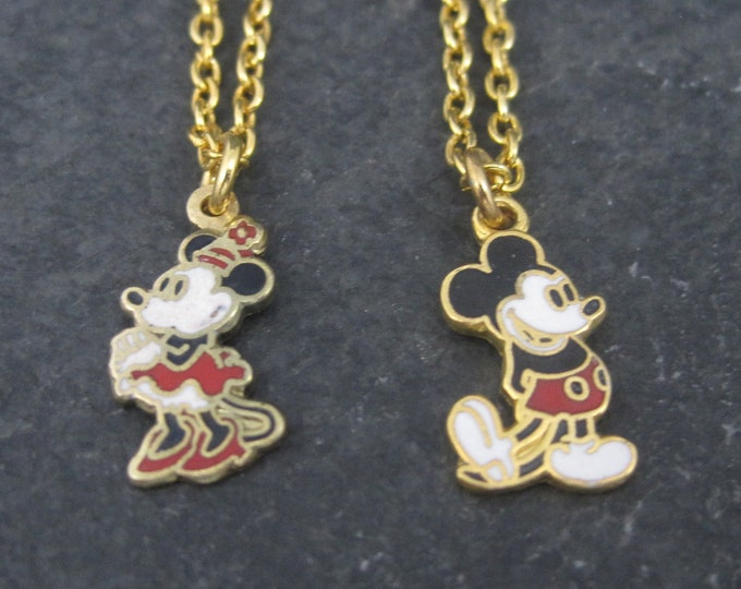 Vintage Kids Licensed Disney Enamel Mickey Minnie Mouse Pendants Necklaces
