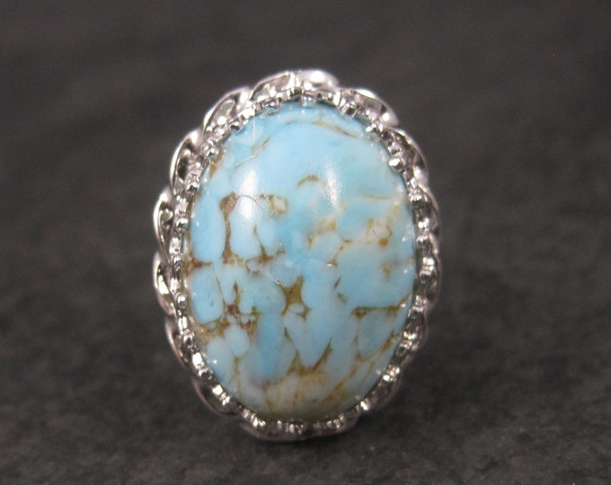 Vintage Sterling Robins Egg Art Glass Stone Ring Adjustable Size 8
