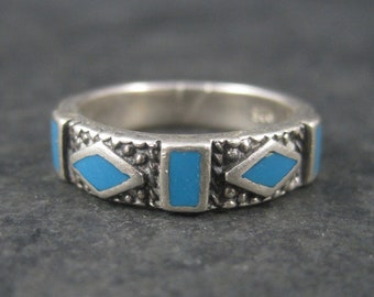 Vintage Sterling Turquoise Inlay Band Ring Size 6