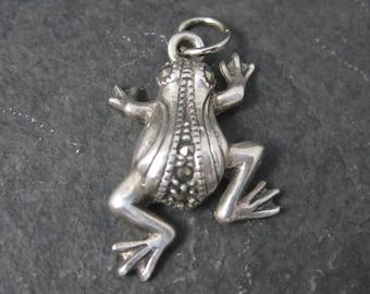 Vintage Sterling Marcasite Frog Pendant Charm