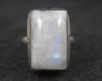 Vintage 90s Sterling Rainbow Moonstone Ring Size 7.5