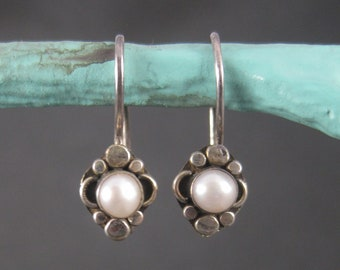 Vintage Sterling Pearl Earrings