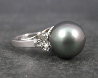 Large 90s Vintage Faux Peacock Pearl Ring Size 8