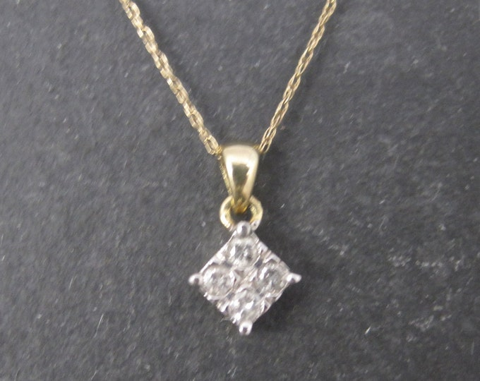 Small 10K .12 Carat Diamond Pendant Necklace