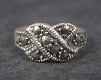 Vintage Sterling Marcasite X Kiss Ring Size 5.75