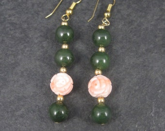 Vintage 10K Jade Carved Coral Rose Earrings