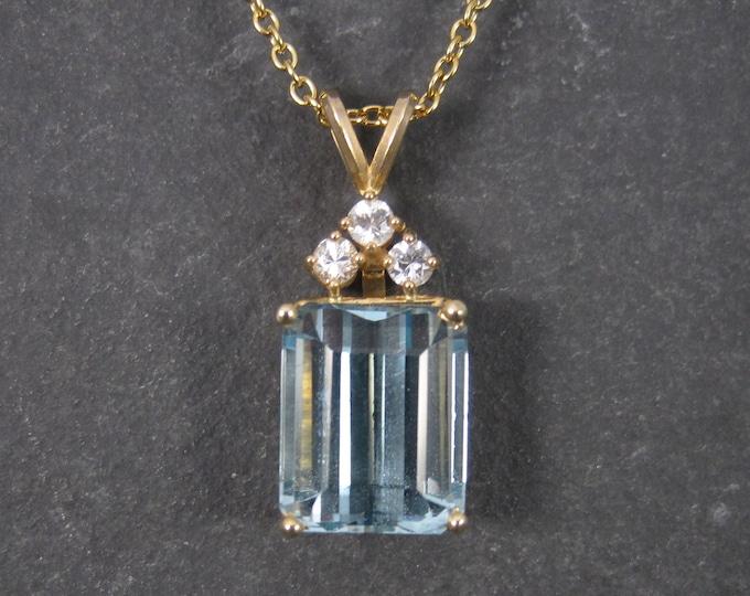 Featured listing image: Estate 14K 14.8 Carat Blue Topaz Diamond Pendant