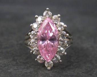 90s Vintage Pink Ice Cubic Zirconia Ring Size 6.5