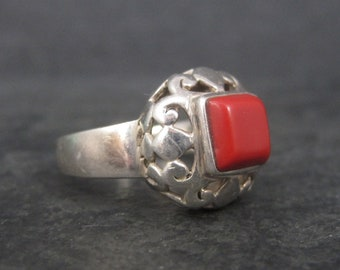 Vintage Sterling Faux Coral Filigree Ring Size 7