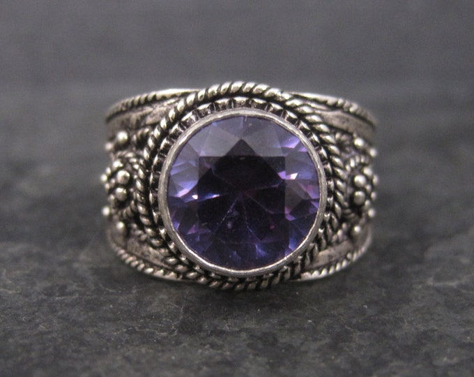 Vintage 950 Silver Synthetic Purple Sapphire Ring Size 9