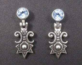 Victorian Style Sterling Blue Topaz Earrings