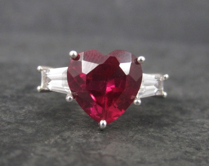 Vintage Sterling Synthetic Ruby Heart Ring Size 7.75