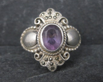 Vintage Boma Sterling Amethyst Marcasite Ring Size 6