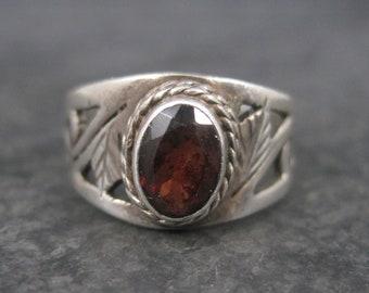 Vintage Sterling Garnet Leaf Ring Size 6