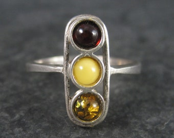 Vintage Sterling Cherry Honey Egg Yolk Amber Ring Size 8.5