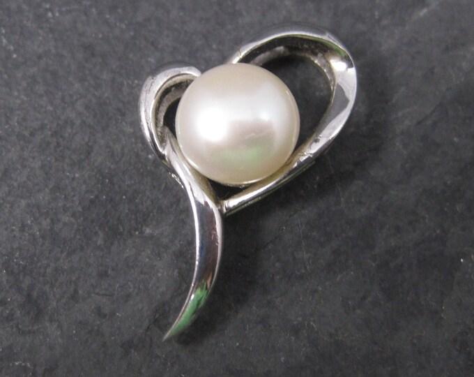 Dainty Vintage Sterling Pearl Heart Pendant