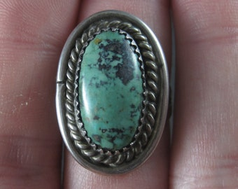 Vintage Sterling Navajo Green Turquoise Ring Size 6.5 Sarah Watson