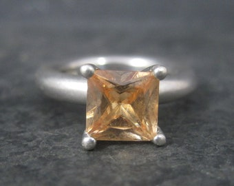 Vintage Chunky Sterling Peach Cubic Zirconia Solitaire Ring Size 6