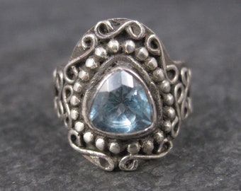 Vintage Balinese Sterling Topaz Ring Size 5