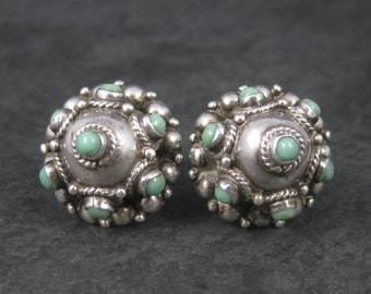 Vintage Mexican Sterling Turquoise Screw Back Earrings