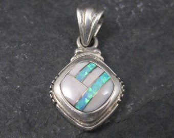Small Vintage Southwestern Mother of Pearl Opal Inlay Pendant