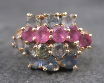 Unusual Vintage 10K Ruby Spinel Topaz Cluster Ring Size 7
