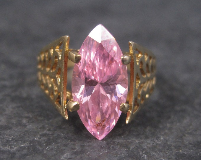 Vintage 10K Marquise Pink Topaz Ring Size 8