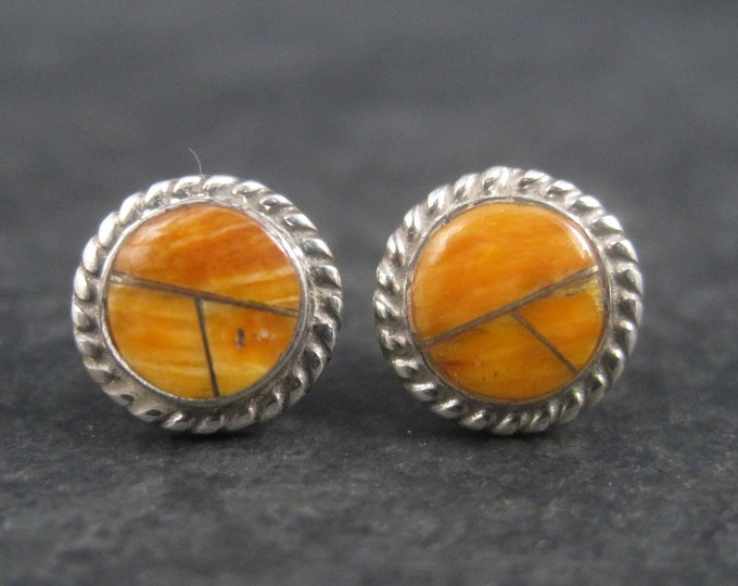 Vintage Southwestern Sterling Spiny Oyster Inlay Stud Earrings