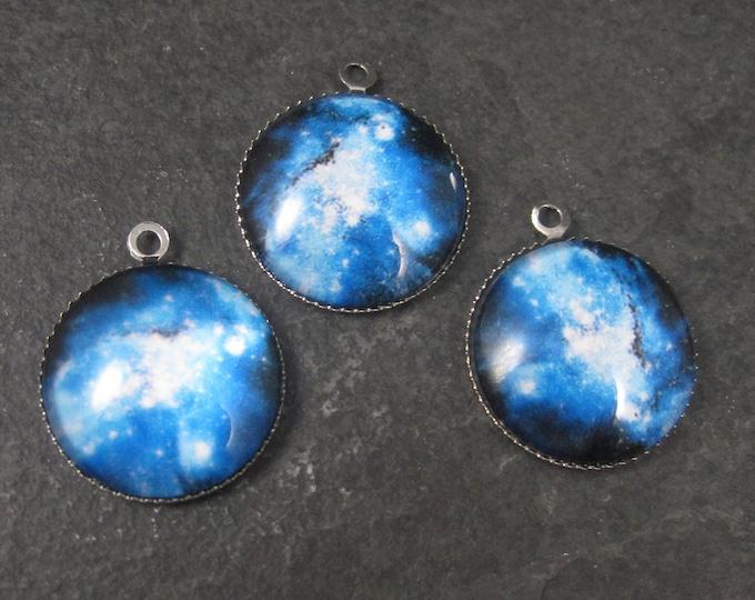 Lot of 3 Blue Galaxy Nebula Charms 21mm