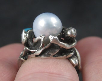 Vintage Nouveau Sterling Pearl Turquoise Goddess Ring Size 5.25