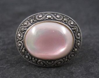 Vintage Pink Mother of Pearl and Marcasite Ring Sterling Size 9