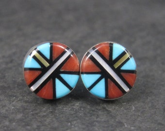 Vintage Southwestern Sterling Micro Inlay Stud Earrings