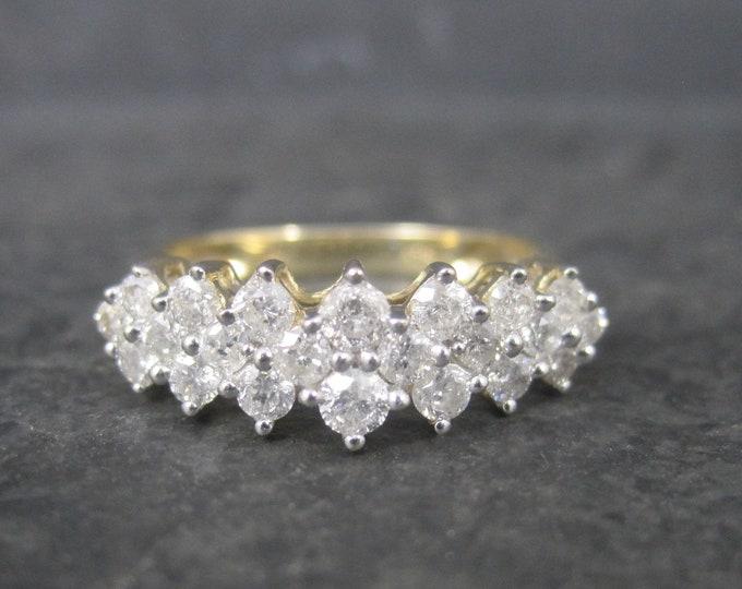 Vintage 14K 1 Carat Diamond Cluster Pyramid Ring Size 7