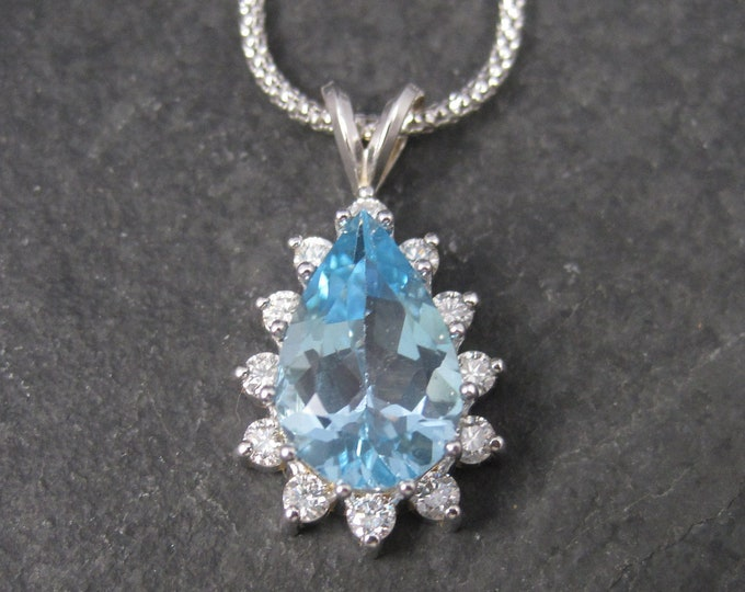 Vintage 14K Topaz Diamond Necklace