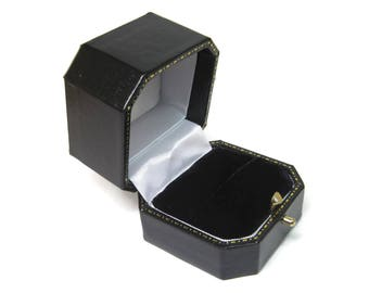 Antique Style Push Button Black Engagement Ring Box