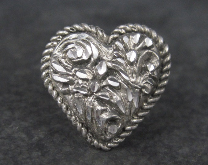 Vintage Sterling Diamond Cut Heart Ring Size 6