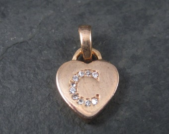 Small Rose Gold Vermeil Initial C Heart Pendant