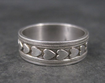 Vintage Sterling 6mm Heart Band Ring Size 6.25