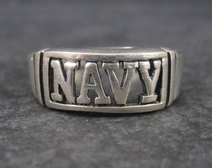 Vintage Sterling Navy Ring Size 13