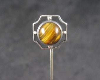 Antique Sterling Tigers Eye Stick Pin
