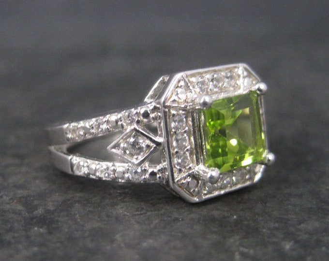 Vintage Sterling Princess Peridot Ring Size 7
